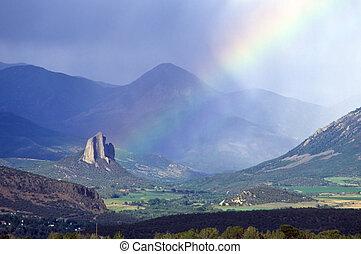 Needle Rock, Colorado, rainbow