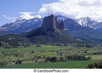 Needle Rock, Colorado - Rocky Mountain valley and volcanic...