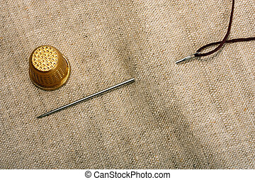 Needle thimble and thread