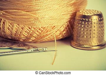 needle, thread, thimble
