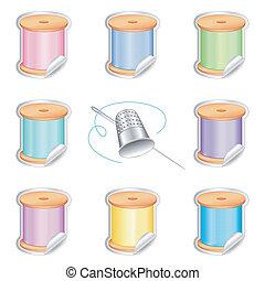 Needle, Threads Stickers, Thimble