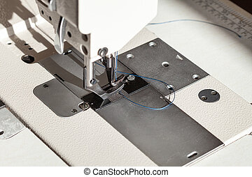 needle with blue thread and steel presser foot