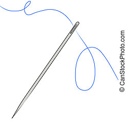 needle with blue thread strung through - needle with blue...