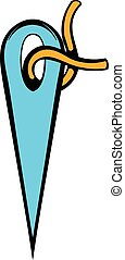 Needle with thread icon, icon cartoon