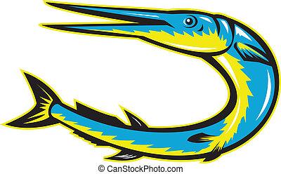 Needlefish Jumping Retro Woodcut Style