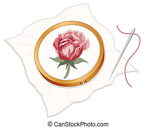 Wood embroidery hoop with red rose needlepoint, silver sewing needle and thread, white background.