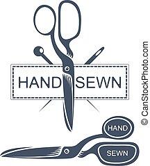 Needles and scissors silhouette