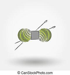 needles., madeja, tejido de punto, hilo