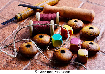 Needlework and beads