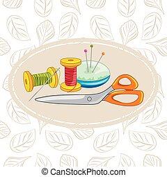 Needlework. Background for design. Vector illustration