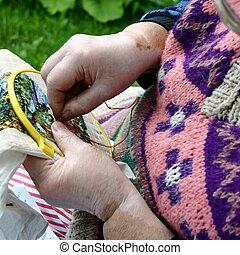 Needlework. - Close-up