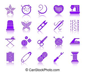 Needlework color silhouette icons vector set