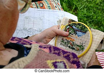 Needlework. - Grandmother.
