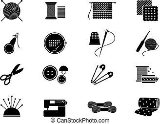 Set of needlework icons. Black silhouette for sewing, knitting, needlework, pattern. Vector illustration