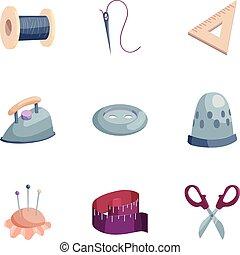 Needlework icons set, cartoon style