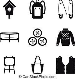 Needlework icons set, simple style