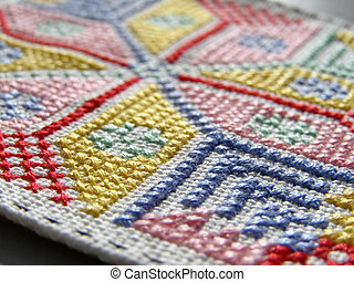 needlework macro - macro of a needlework patch