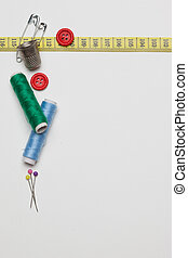 Needlework tailoring tools, isolated on white background -...
