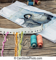Needlework - Yarn and thread for embroidering on cloth by...