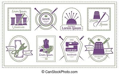 needleworks, etiquetas, emblemas, sastre, retro, o
