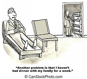 Needs Work Life Balance - Cartoon of businessman in therapy...