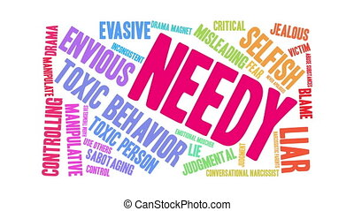 Needy Word Cloud - Needy word cloud on a white background.