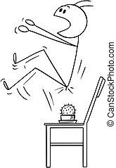 neerzitten, geplaatste, vector, stoel, cactus, spotprent, man