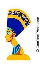 nefertiti, 女王, ファラオ, 像, エジプト, 古代