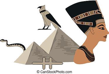 Nefertiti and the Pyramids - Illustration with symbols of...