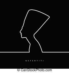 nefertiti face beauty illustration on black background