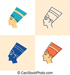 Nefertiti icon set in flat and line style