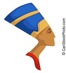 Egyptian queen Nefertiti isolated profile ancient civilization vector Egypt history female character woman head profile in crown archeology history and historical personality traveling and exploration