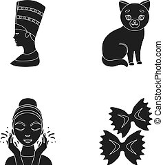 nefertiti, outro, massagem, pretas, macarronada, ícone, teia, rosto, jogo, gato, collection., style., ícones