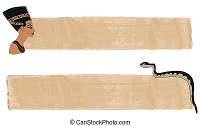 Papyrus banners with Nefertiti and snake