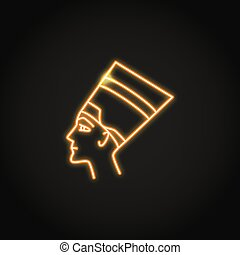 Nefertiti queen icon in glowing neon style