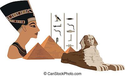 nefertiti, und, pyramiden