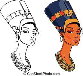 Nefertiti. Vector illustration. Isolated on white...