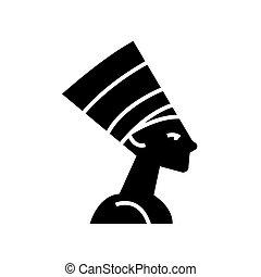 nefertity - egypt icon, vector illustration, black sign on...