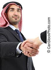 negócio, árabe, emirates, saudita, handshaking, homem