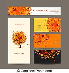 negócio, árvore, cobrança, outono, desenho, cartões