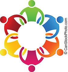 negócio, ícone, design., equipe, grupo, 6