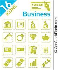 negócio, -, ícones