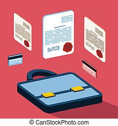 negócio, 3d, documentos, conceito