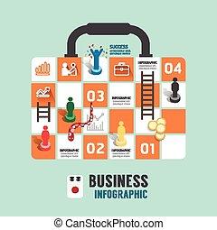negócio, aborde jogo, conceito, infographic, passo, para,...