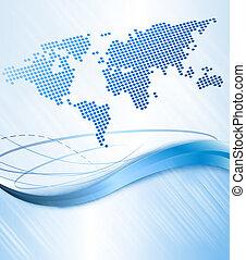 negócio, abstratos, fundo, com, mundo, map., vetorial, illustration.