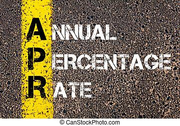 negócio, acrônimo, apr, anual, índice porcentagem