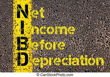 negócio, acrônimo, nibd, como, rede, renda, antes de, depreciação