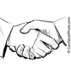 negócio, agitação mão, entre, duas pessoas