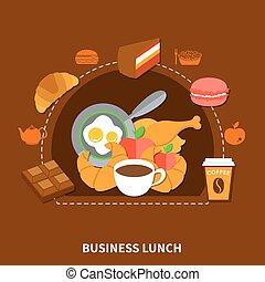 negócio, alimento, cartaz, rapidamente, almoço, menu
