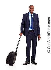 negócio, americano africano, viajante